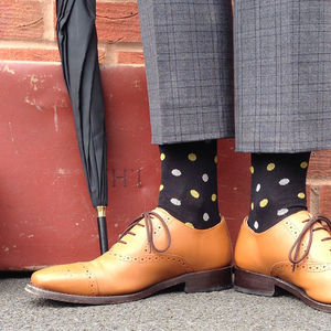 Men's Polka Dot Cotton Socks With Moustache Motif