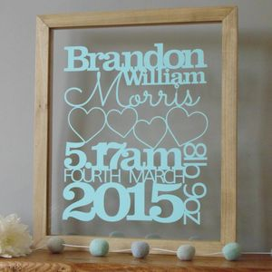 Personalised Baby Birth Details Papercut