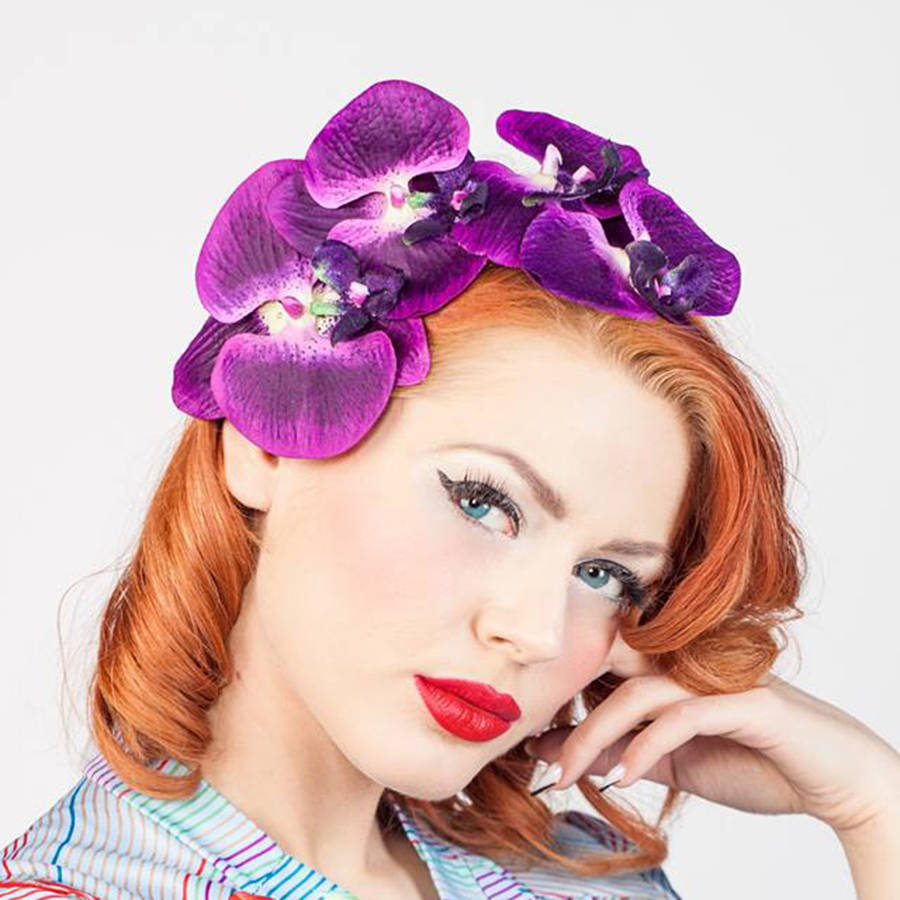Vintage Style Orchid Cascade Fascinator
