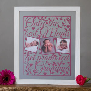 Personalised 'Best Mums' Papercut - mixed media & collage