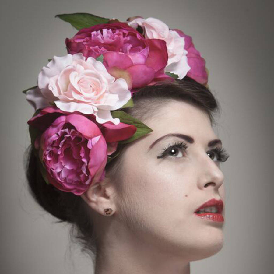 Peony and rose floral crown by ggs pin up couture peony and rose floral crown izmirmasajfo