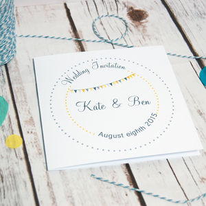 Bunting And Dotty Circles Wedding Stationery