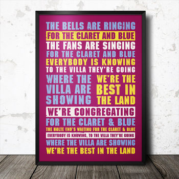 Aston Villa Football Song Lyrics Chant Poster