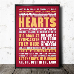Hearts Football Song Lyrics Chant Poster
