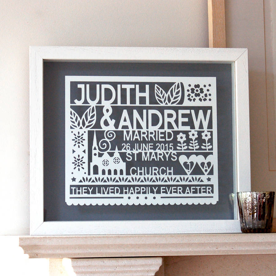 Personalised Wedding Gift Paper Cut Wall Art