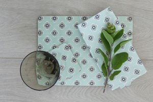Garden Green Grey Set Of Four Melamine Placemats