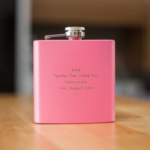Personalised Pink 6oz Hip Flask - hen party styling