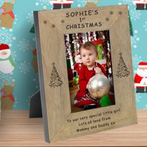 Personalised 1st Christmas Baby Photo Frame - picture frames