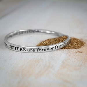 Sisters Forever Friends Message Bangle - women's jewellery