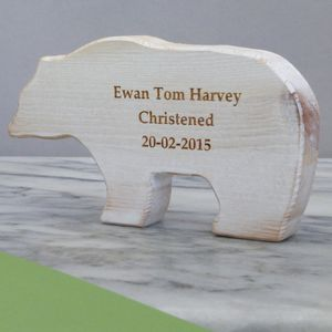 Personalised Christening Wooden Bear Keepsake - children's room accessories