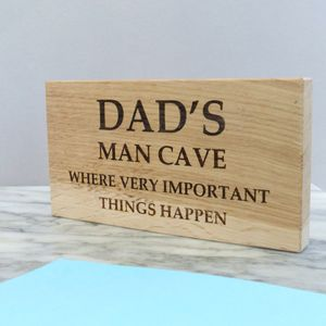 Personalised Dad's Man Cave Oak Sign - father's day gifts