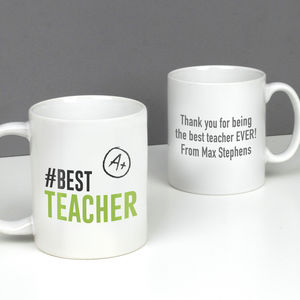 Personalised Hashtag 'Best Teacher' Mug - gifts for teachers