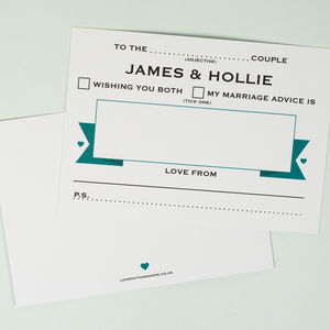 50 Personalised Wedding Advice Cards Banner Design
