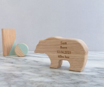 Personalised Newborn Baby Oak Wooden Bear Keepsake