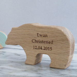 Personalised Christening Oak Bear Keepsake