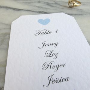 Personalised Heart Wedding Table Plans - place cards