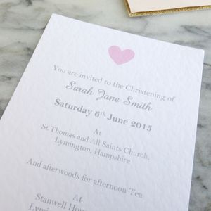 Personalised Heart Christening Invitations - invitations