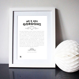 Mr And Mrs Modern Wedding Poem Art Print