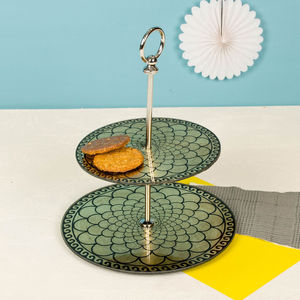 1920s Style Luxurious Gold Leaf Effect Glass Cake Stand - cake stands