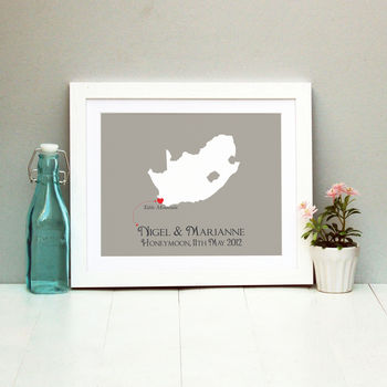 Honeymoon In South Africa Personalised Print