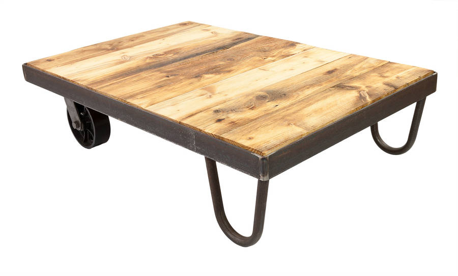 Vintage Industrial Cart Coffee Table By Swinging Monkey Furniture Design