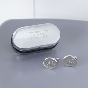 Personalised Oval Cufflinks And Box - men's jewellery