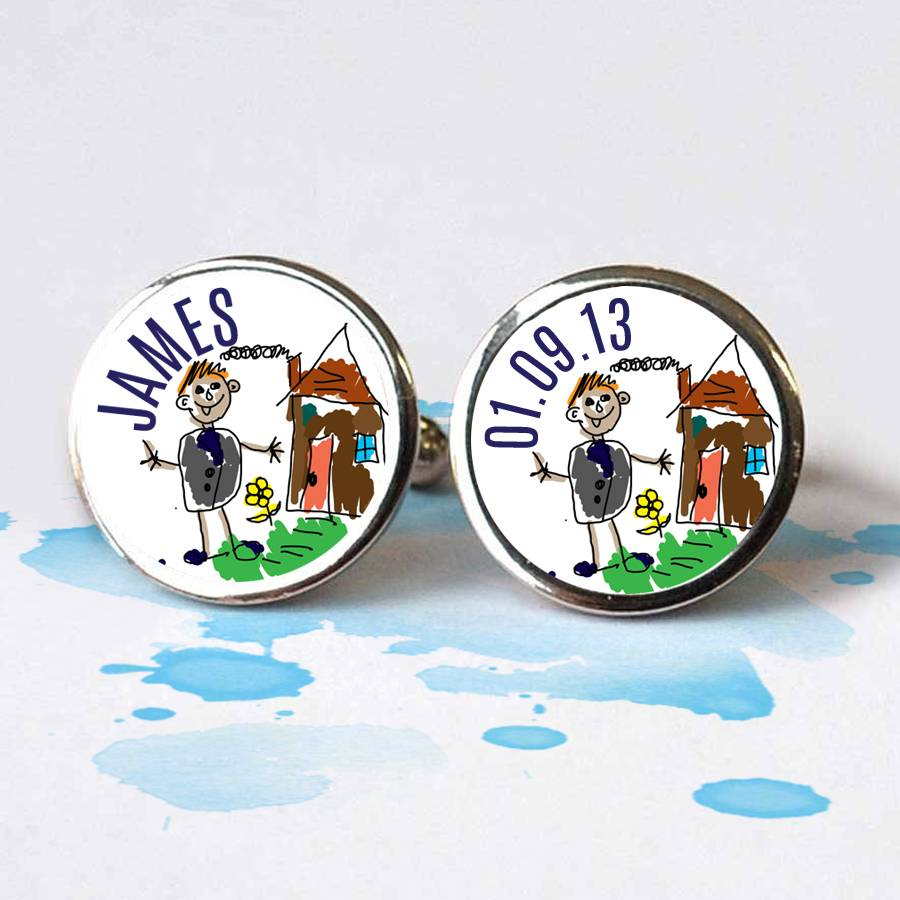 Hand Made Cufflinks Personalised With Child's Art