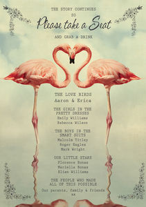 Flamingo Wedding Party Poster - room signs