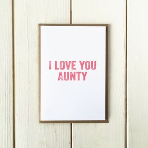 I Love You Aunty Greetings Card - mother's day cards