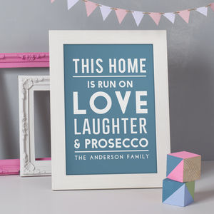 Personalised 'This Home Is Run On' Print - new home gifts