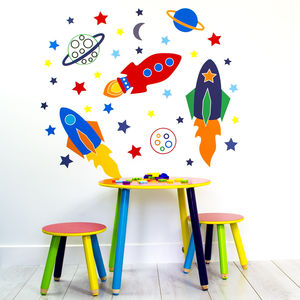 Space Rockets Wall Stickers - children's room accessories