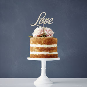 Elegant 'Love' Wooden Wedding Cake Topper - cake decoration