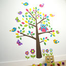 Owl And Birds Tree Scene Wall Sticker