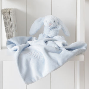 Personalised Blue Bunny Baby Comforter - christening gifts