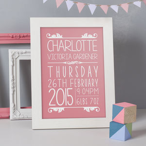Personalised New Born Baby Details Print - pictures & prints for children