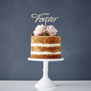 Elegant 'Forever' Wooden Cake Topper - cake toppers & decorations