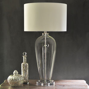 Evie Glass Table Lamp With Cream Shade - table & floor lamps