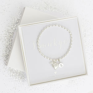 Cecily Silver Plated Heart Personalised Bracelet
