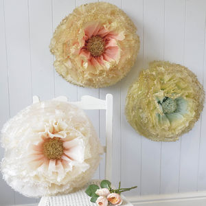 Three Gilded Hand Dyed Paper Flowers - hanging decorations