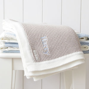 Personalised Boys Stripe Knitted Blanket - children's room