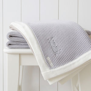 Personalised Stripe Knitted Blanket - baby's room