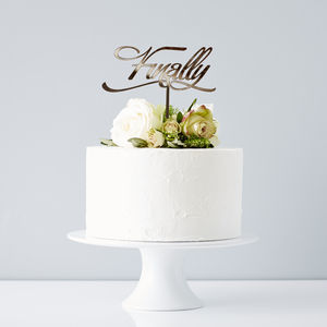 Elegant 'Finally' Wedding Cake Topper - table decorations