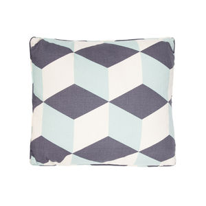 Cubes, Aqua Cushion - patterned cushions