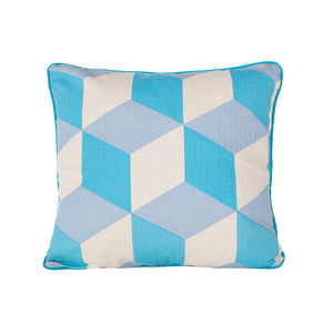 Cubes, Turquoise Cushion - patterned cushions