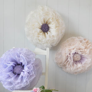 Three Ivory, Lilac And Champagne Paper Flowers - room decorations