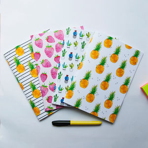 A Set Of Four Watercolour Print Notebooks - travel journals & diaries
