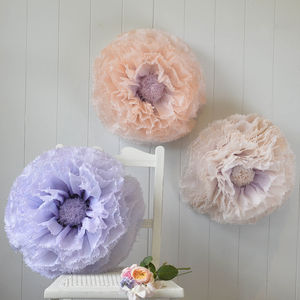 Three Giant Amethyst, Nude And Peach Paper Flowers - room decorations
