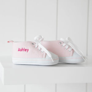 Personalised Baby Pink High Top Trainers - baby's spring wardrobe