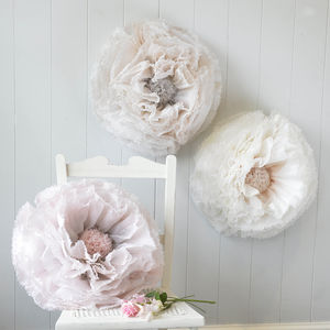 Three Blush, Dove And Ivory Ombré Paper Flowers - room decorations