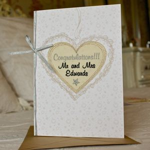 Large Embroidered Wedding Congratulations Card - wedding cards & wrap